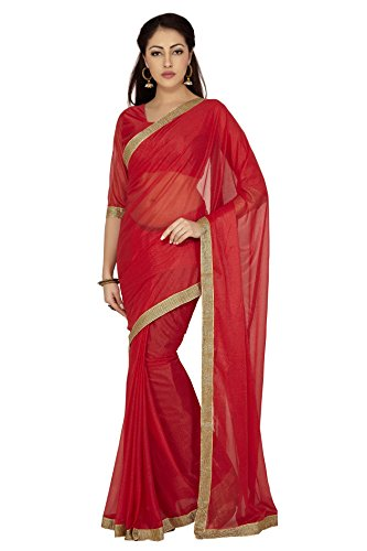 Bollywood Women's Indian Ethnic Designer Red color Lycra Party Wedding Sari With saree Blouse Unstitched (Laykra, Multi)  available at amazon for Rs.140
