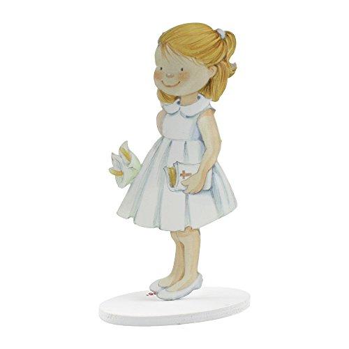 Mopec Pack Pastell-Figur Kommunion Mädchen mit eloxiertem Regenbogen, Metall, Weiß, 4.2x 8.5x 16cm, 2Stück