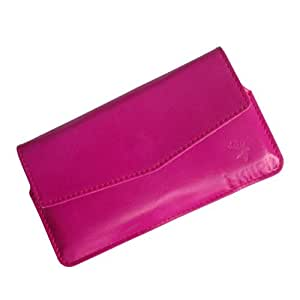 i-KitPit : Genuine Leather Pouch Case Cover For Spice Stellar Virtuoso Pro (MI-491) (PINK)