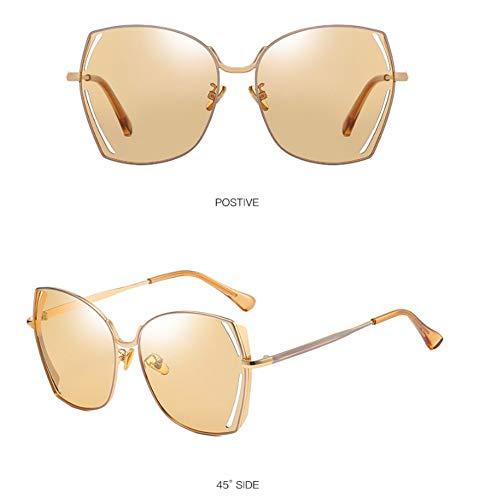 WSKPE Sonnenbrille,Polarisierte Sonnenbrillen Metall Großen Frame Square Fahren Gläser Champagner Linse