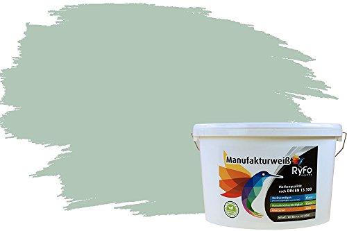 RyFo Colors Bunte Wandfarbe Manufakturweiß Lorbeergrün 10l - weitere Grün Farbtöne und Größen erhältlich, Deckkraft Klasse 1, Nassabrieb Klasse 1