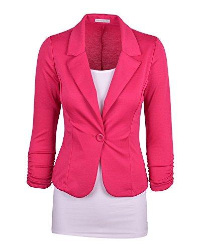 Chaqueta de Traje para Mujer Estilo Ajustado y Casual Un Solo Pecho Blázer Slim Fit Rosa 2XL