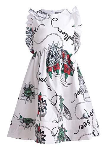 Eco-freundliche Linie (GULLIVER Mädchen Kleid | Farbe Weiß mit Blumen Muster | Lockere Passform | Ärmellos | Baumwolle | für 8-13 Jahre)