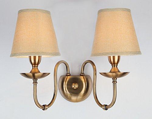 Applique da parete da wenseny luce a muro applique elegante colore bianco paralume tessuto a pieghe in stile barocco classico 2-bulbs e14 2x60w 230v