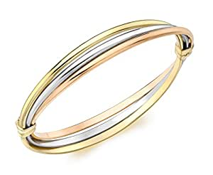Carissima Gold 9 ct 3 Colour Gold Russian Style Bangle of Length Diameter 5.5 cm/2 inch