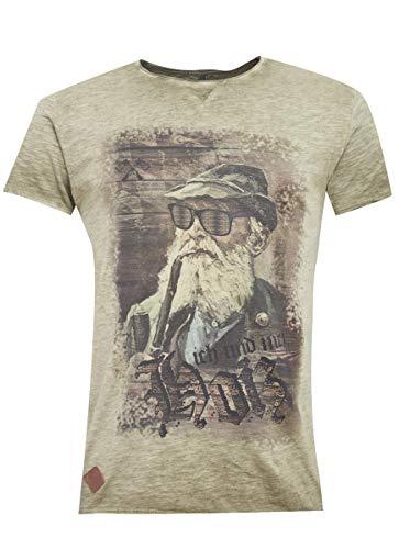 Hangowear Herren Trachten-Mode Trachtenshirt Fritz in Oliv, Größe:M, Farbe:Oliv