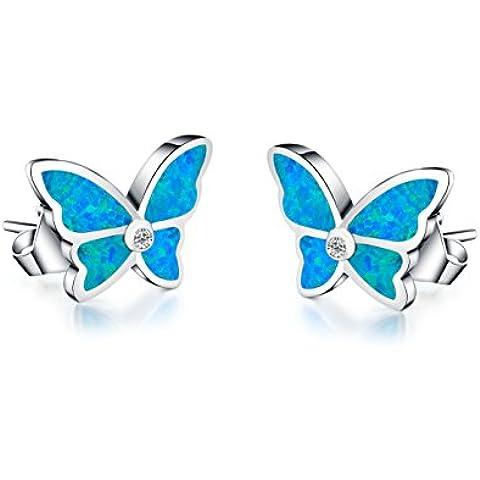 Pendientes del perno prisionero de mujer - Forma de mariposa - Ópalo azul sintético - Plata esterlina