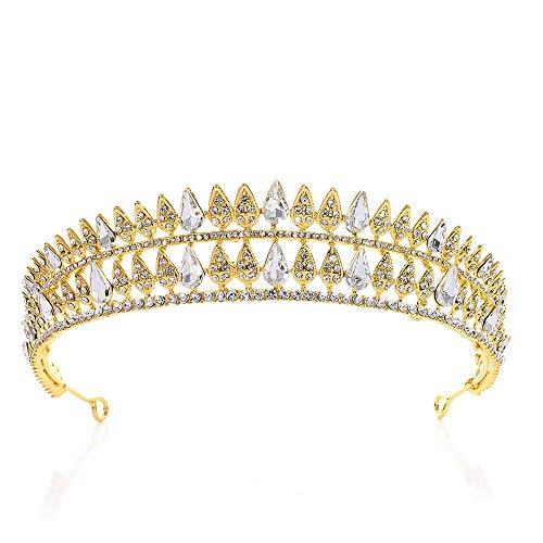 Braut Krone Kristall Krone Strass Braut Brautjungfer Krone Tiara Hochzeit Prom Haar Kopfbedeckungen Haarschmuck Königin Krone (Color : Gold, Size : 16 * 3.5cm) (Halloween-kostüm Eleganz Königliche)