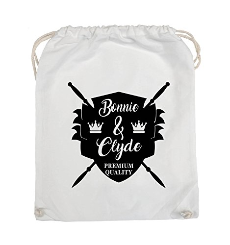 Comedy Bags - Bonnie & Clyde RITTER - MOTIV - Turnbeutel - 37x46cm - Farbe: Schwarz / Silber Weiss / Schwarz
