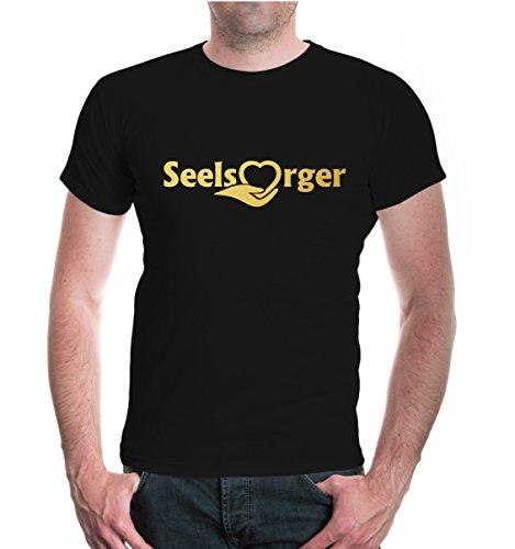 buXsbaum® T-Shirt Seelsorger Black-Gold