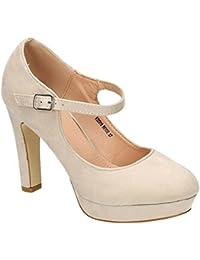 King Of Shoes Klassische Trendige Damen Mary Jane Riemchen Pumps Plateau  Sandaletten Party High Heels Peep a6b20763a2