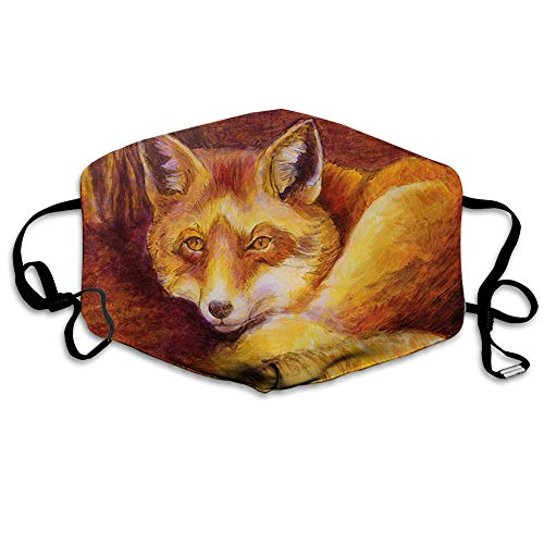 Unisex Anti-Dust Mouth Mask, Monochromatic Fox Resting Painting Style Display Vibrant Animal Art.jpg -