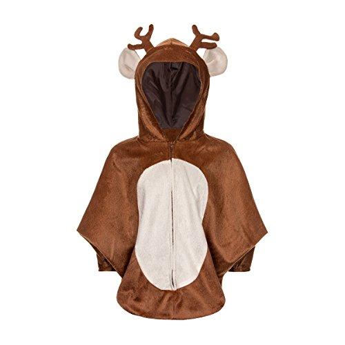 Kostümplanet® Rentier Kostüm Baby süßer Poncho für Kinder und Kleinkinder Weihnachten Krippenspiel Kinder-Kostüm Größe 86/104