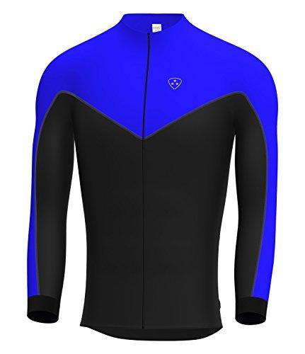 Deportes Hera Ropa Ciclismo Maillot Mangas largas Camiseta de Ciclistas de Invierno Color Azul/Negro