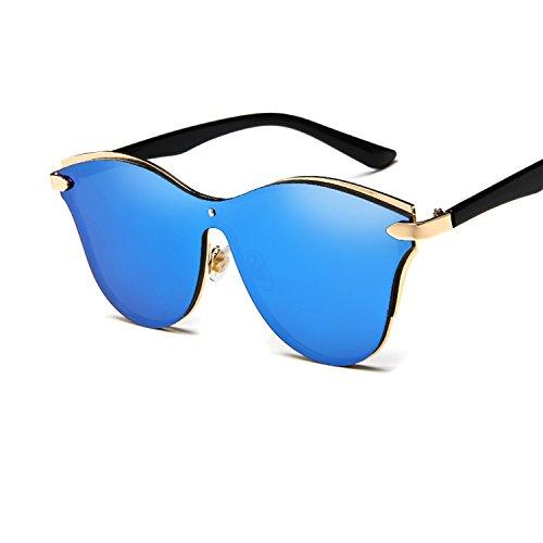 Junjiagao Übergroße polarisierte Metallrahmen der Frauen gespiegelte Katzenaugen-Sonnenbrille (Color : Gray)