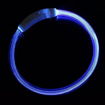 iEFiEL LED Halsband Leuchthalsband für Hunde und Katzen Hundehalsband aus weichem Gummi 50cm, Aufladen per USB, 3 Modell Blink, Wasserdicht