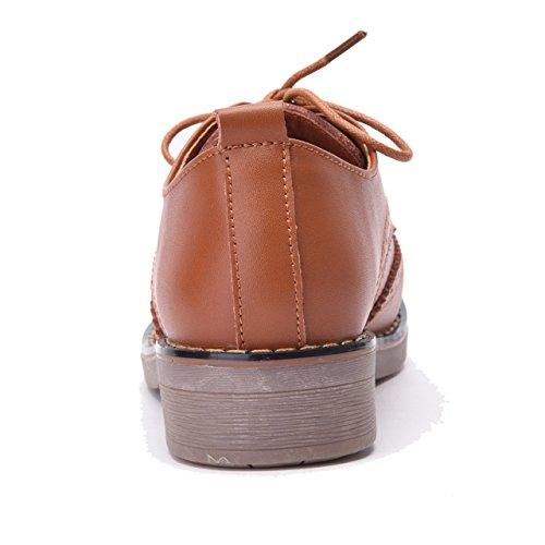Moonwalker Chaussures de Ville Femme à Lacets en Cuir Derby Brogues Marron