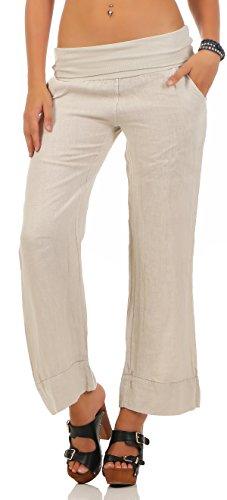 Malito Damen Hose aus Leinen | Stoffhose in Unifarben | Freizeithose für den Strand | Chino - Jogginghose 8076 (beige, L)