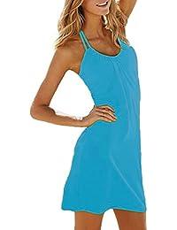 SODACODA Loisirs robe de plage d'été de dames - sans manche - robe soirée d'été figure-fin - longueur genou - disponible en différentes couleurs et tailles (S-XL)