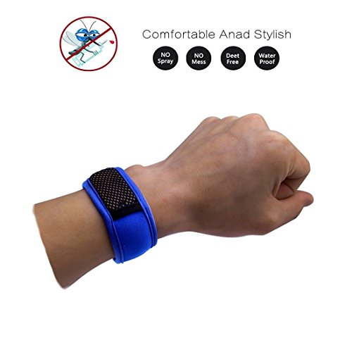 Veewon Mückenschutz Armband Armband für Erwachsene, Kinder, Babys + 2 PC-Repellent Refills (Blau)