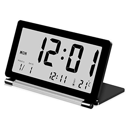 Delmkin LCD Wecker Ultra-dünne Klapp-Reisewecker Tragbare Digitale Wecker (schwarz)