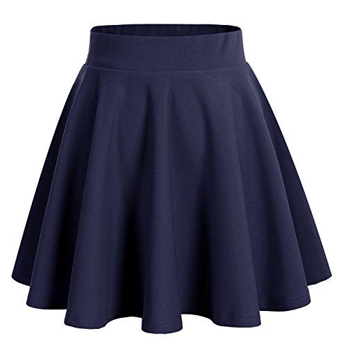 Dresstells Damen Basic Solide Vielseitige Dehnbar Informell Mini Glocken Rock Navy L