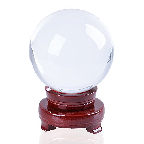 JJPRIME-Red - Clear Crystal Ball 100 mm (4 Inch Screen Feng Shui Crystal Ball with Wooden Stand, Photography, Shop Display, Home Decorating etc - Stand Crystal