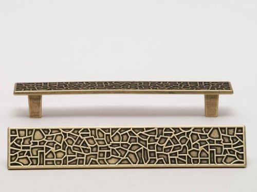Möbelgriff Schrankgriff Schubladengriff mit Muster verschiedene Farben LA 128mm (Messing Optik) -