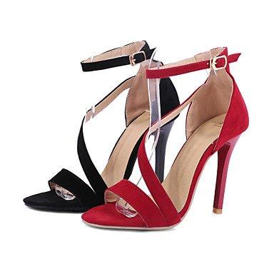 LvYuan Damen-Sandalen-Hochzeit Kleid Party & Festivität-Vlies-Stöckelabsatz-Knöchelriemen Club-Schuhe Komfort-Schwarz Rot Black
