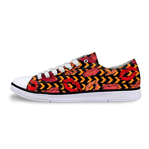 Lips Fashion Womens Girls Canvas Shoes Lace-up Low Top Casual Comfort Sneakers Orange HB0174AP 9
