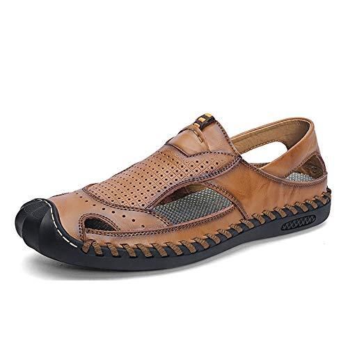 SHENNANJI Für Männer Sommer Strand Sandale Wasser Schuhe Aus Echtem Leder Handgemachtes Nähendes Perforiertes Geschlossenes Anti-kollisionszehe (Color : Braun, Größe : 39 EU) - Sport 2.0 Perforiertes Leder