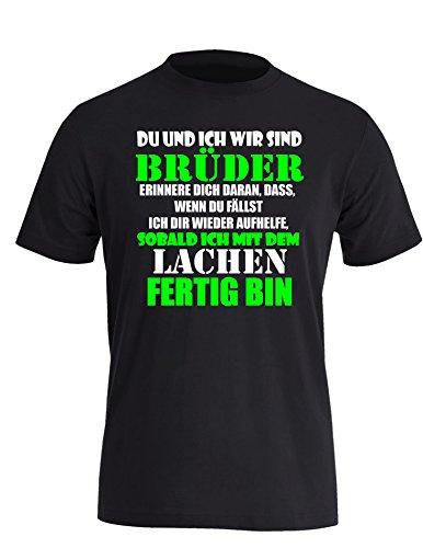 Wir sind Brüder - Herren Rundhals T-Shirt Schwarz/Weiss-neongruen