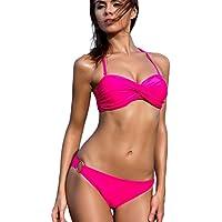 EUDOLAH Damen Bandeau Padded Bikini-Set Trägerlosen Badeanzug Push Up
