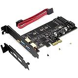 Rivo USB 3.0 PCIE Karte inkl. 1 USB C und 2 USB A Ports, zum Hinzufügen von M.2 SATA III SSD Geräten zu PC oder Motherboard durch M.2 SATA auf PCIe 3.0 Adapterkarte
