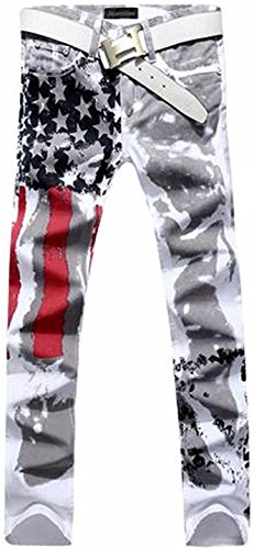 Jeansian Herrenmode Casual Pants Jeans-Hose J229_White W30 (Jeans Mens White Revival Rock)