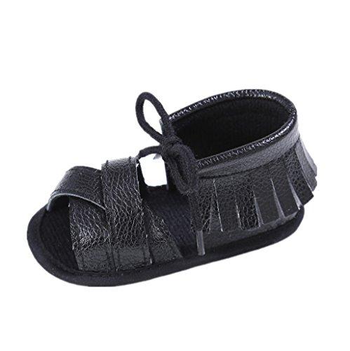Baby Schuhe Auxma Baby Mädchen Sommer Quasten Sandalen Schuhe Prewalker für 3-6 6-12 12-18 Monat (12-18 M, Rosa) Schwarz