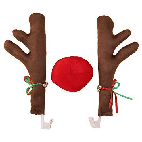 BESTOYARD Rentier Auto Kostüm mit Geweih Nase Weihnachten Auto Deko ()