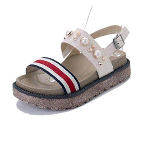 Muffin weibliche Sandalen Sommer Sandalen dicke Kruste Perle Sandalen Mode wilde weibliche Studenten White