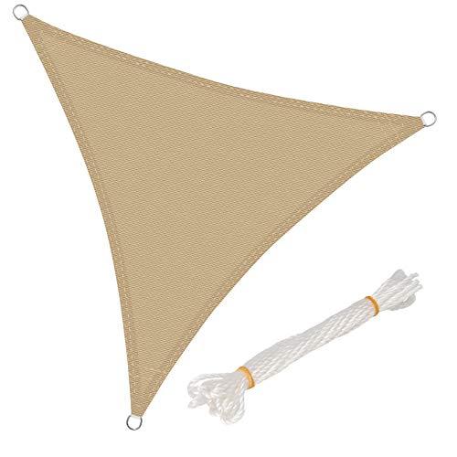 WOLTU GZS1188sd13 Voile d'ombrage Triangulaire perméable à l'air Protection Contre Le Soleil HDPE avec Protection UV pour Jardin terrasse Camping,4x4x4m Sable