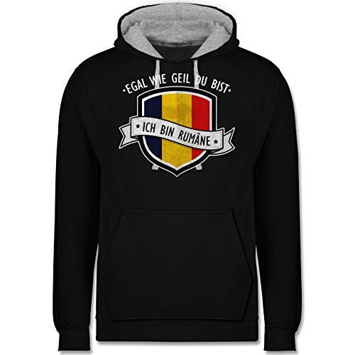 Länder - Egal wie geil du bist - ich bin Rumäne - Kontrast Hoodie Schwarz/Grau Meliert
