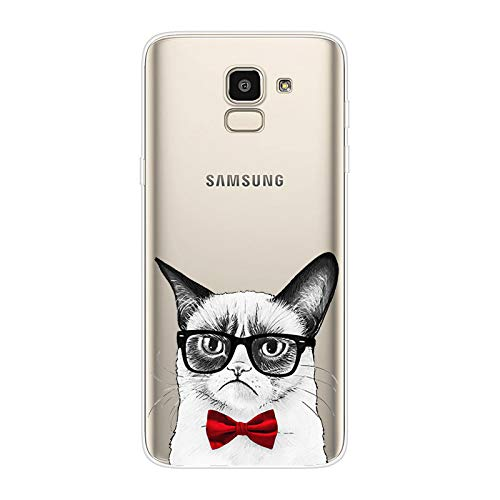 Herbests Kompatibel mit Samsung Galaxy J6 2018 Hülle Transparent mit Muster Motiv Crystal TPU Silikon Handyhülle Weich Durchsichtige Schutzhülle Handytasche Softcase Backcover,Katze Glas