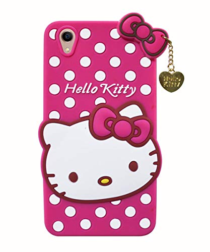COVERNEW Hello Kitty Rubber Back Cover for Vivo Y51L - Pink
