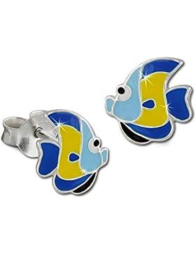 Tee-Wee Kinder Ohrring Fisch blau/gelb 925 Sterling Silber Kinderohrstecker Kinderschmuck SDO8126B