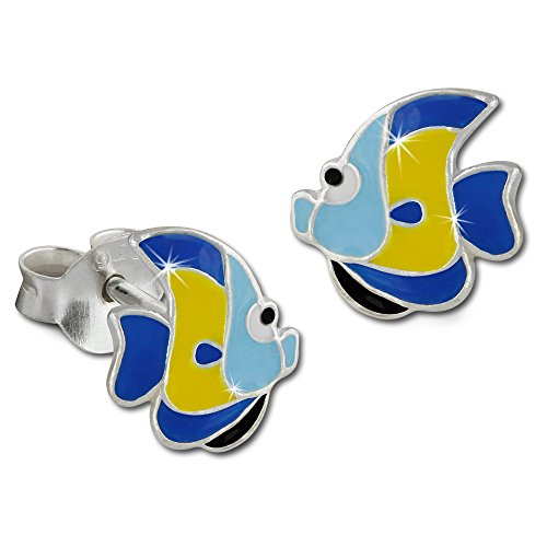 Teenie-Weenie Ohrringe Kinder 925 Silber Ohrstecker Fisch blau gelb SDO8126B