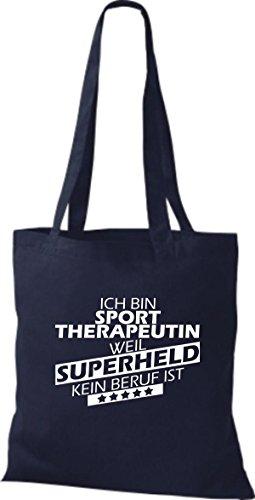 Shirtstown Stoffbeutel Ich bin Sporttherapeutin, weil Superheld kein Beruf ist navy