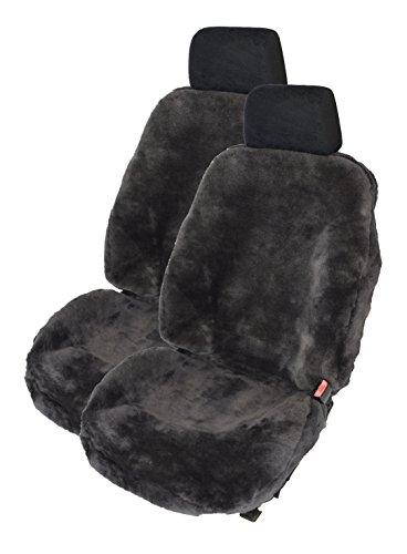 Leibersperger Felle 1Paar Autoschonbezüge Luxus Autofelle komplett aus echtem Lammfell Premium (Schiefer) mit hoher Sitzlehne bis 65cm (Direkt vom Hersteller)