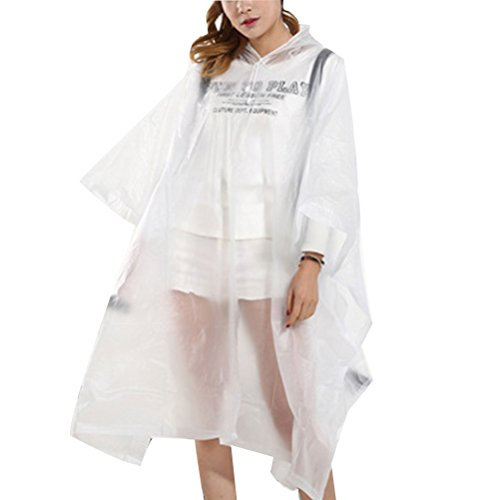 Zhhlaixing Women Fashion Transparent Poncho Raincoat Bicycle Waterproof Raincoat Transparent White