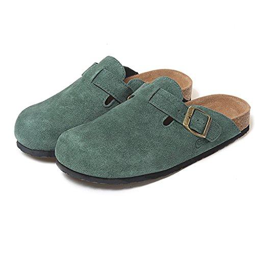 PENGFEI Mules Femme Flip-flops d'été Couple de liège Sandales plates à bascule Confortable et respirant ( Couleur : Rose , taille : EU39/UK6/L:245mm ) Vert