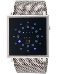 Binary The One Gamma Ray - Reloj digital de caballero de cuarzo con correa de acero inoxidable plateada - sumergible a 30 metros