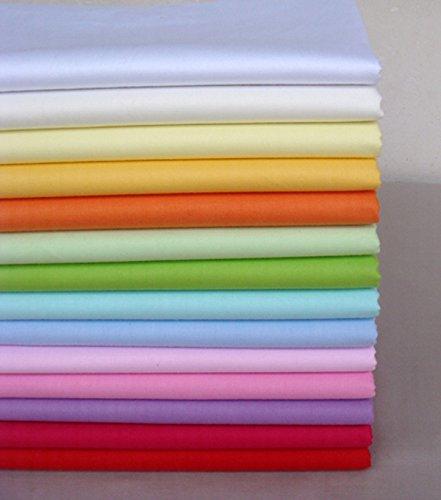 Lot de 14 tissus unis en coton 40cm x 50cm pour couture, patchwork